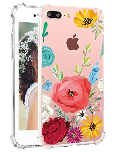 Flowers iPhone 7 Plus Case Floral iPhone 8 Plus Case for Women Hepix iPhone Protective Case Scratch Resistant Bumper Cover Soft Flexible TPU Back Cover for Apple iPhone 7 Plus iPhone 8 Plus