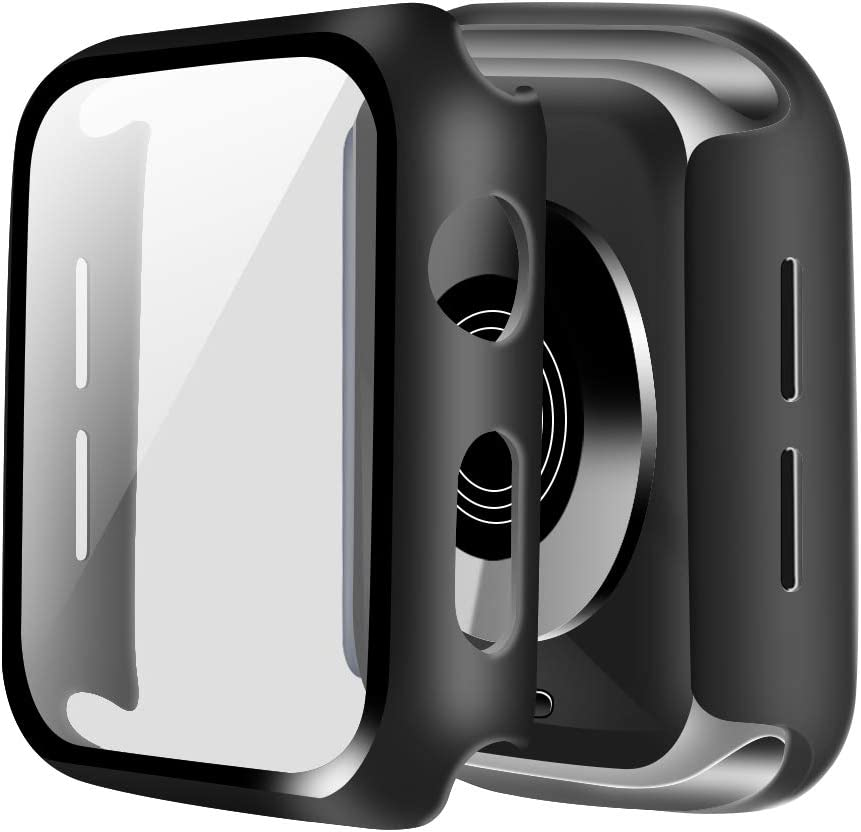ONMROAD Protective Case Compatible with Apple Watch 38mm Series 3/2/1 with Tempered Glass Screen Protector Replacement for iWatch Cover 38mm - Black