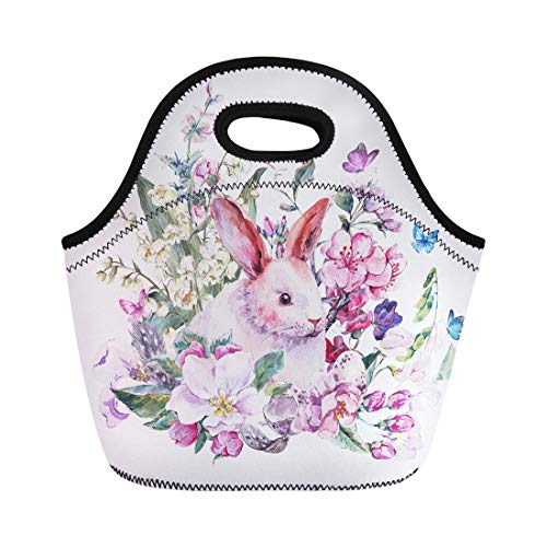 Semtomn Neoprene Lunch Tote Bag Watercolor Spring White Bunny Blooming Branches of Peach Pear Apple Reusable Cooler Bags Insulated Thermal Picnic Handbag for Travel,School,Outdoors, Work