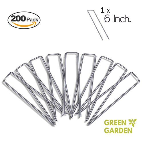 (GreenGarden 6 Inch Garden Landscape Staples Stakes Pins SOD | 200 Pack | Galvanized Steel | For Weed Barrier Fabric, Ground Cover, Soaker Hose, Lawn Drippers, Drip Irrigation Tubing etc. | by)
