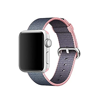 Apple Watch band Series 1 Series 2, Oitom Woven Nylon Watch Band Replacement Strap for Apple Watch 42mm/38mm 2015 & 2016 All Models (Light Pink/Midnight Blue, Apple Watch 38mm)