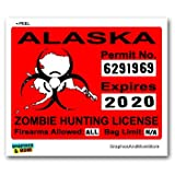 Alaska AK Zombie Hunting License Permit Red - Biohazard Response Team - Window Bumper Locker Sticker