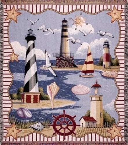 Simply Home Coastal Memories Tapestry Throw Blanket 50x60