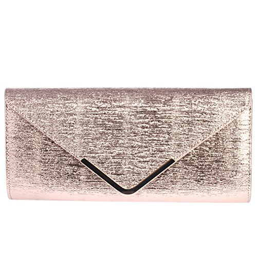 Digabi Simple Fashion Design Rectangle Shape women Leather Clutch Bags (One Size : 11.8X5.5X1.8 IN, Rose Gold) by Digabi
