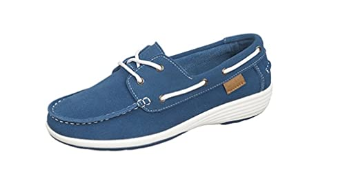 Boulevard - Náuticos de Piel Vuelta para mujer, color azul, talla 42: Amazon.es: Zapatos y complementos