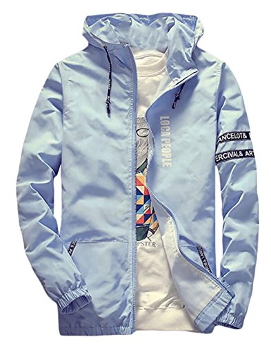 Price comparison product image Generic Mens Zip Long Sleeve Lightweight Hooded Jacket XXL Blue