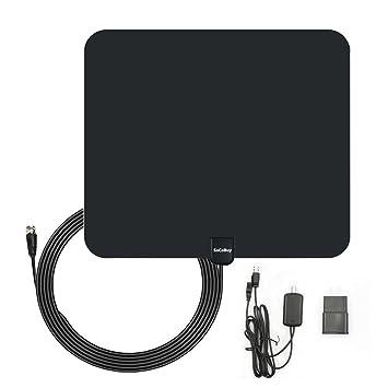 SoCoBuy Antena de TV de interior, antena digital HDTV, rango de 50 millas con amplificador de señal amplificador, cable coaxial de 3 m: Amazon.es: ...
