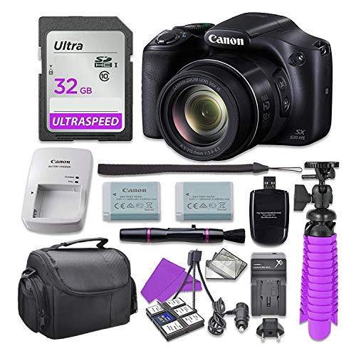 Canon PowerShot SX530 HS Digital Camera with 32GB SD Memory Card + Accessory Bundle (Cannon 16 Mp Camera)