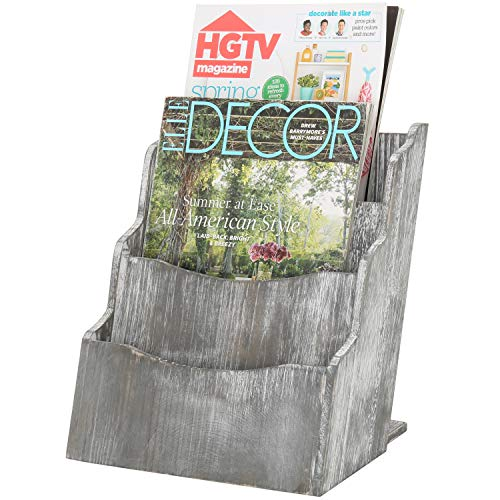 MyGift 3-Compartment Rustic Grey Wood Magazine Rack Holder