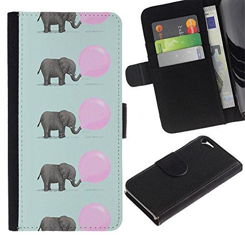 LASTONE PHONE CASE / Luxe Cuir Portefeuille Housse Fente pour Carte Coque Flip Étui de Protection pour Apple Iphone 5 / 5S / elephant cute pink balloon pattern