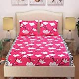 NIMKOS Glace Cotton Double Bedsheet with 2 Pillow Cover, Size- 90 X 90 Inch, 144TC, 3D Printed Pattern, Multicolor