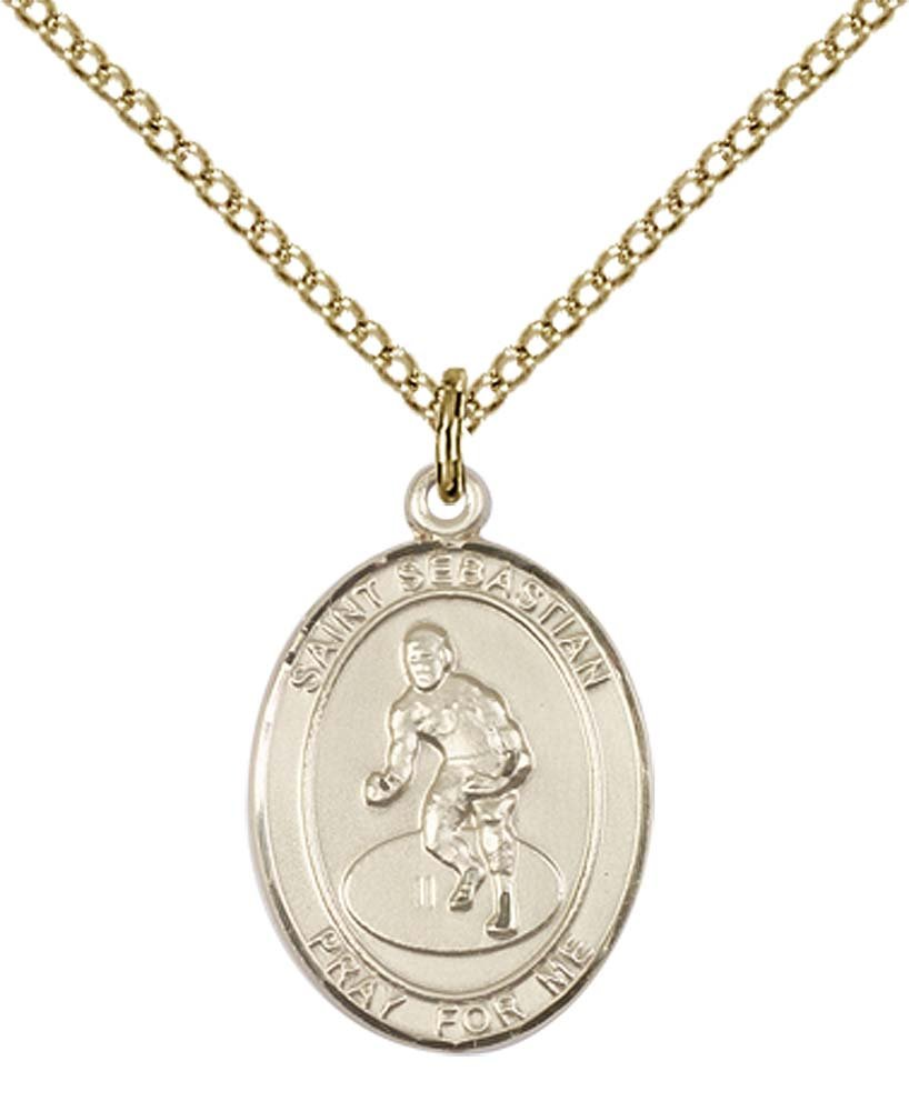 14kt Gold Filled St. Sebastian / Wrestling Pendant with 18'' Gold Filled Lite Curb Chain. Patron Saint of Athletes/Soldiers