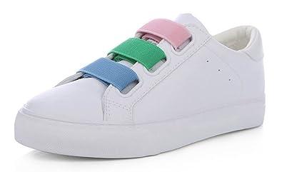 59d28199cc89 Aisun Femme Mode Multicolore Chaussures de Sport Tennis Talon Plat Loafers  Baskets Blanc 37