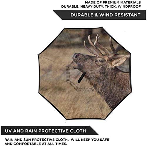 ロッキーマウンテン国立公園の鹿荒野エルク ユニセックス二重層防水ストレート傘車逆折りたたみ傘C形ハンドル付き