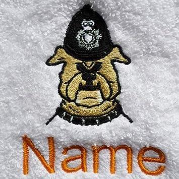 Albornoz con capucha infantil con un perro Logo y nombre de su elección de policía en color azul. Edades 2, 4, 6, 8, 10 o 12, azul real, 6 años (talla del ...