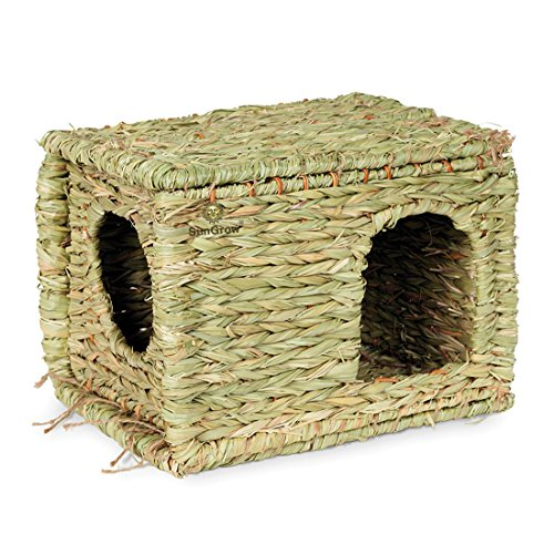 SunGrow-Folding-Woven-Grass-House-for-Rabbits-Guinea-Pigs-Bunnies-Provides-Comfort-Warmth-Security-by-Satisfying-Natural-Instincts-Multi-Utility-Edible-Non-Toxic-Chew-Toy-for-Small-Animals