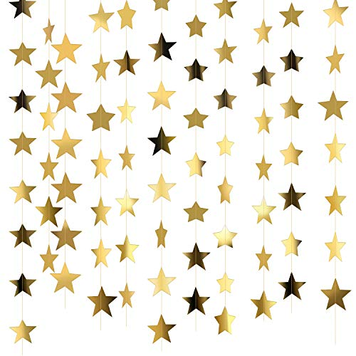 - Patelai 130 Feet Golden Glitter Star Paper Garland Hanging Decoration for Wedding Birthday Christmas Festival Party (Set of A, Gold)