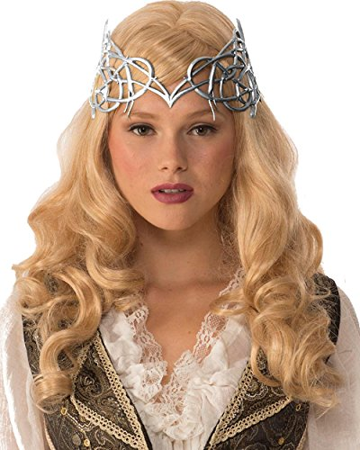 Adult's Womens Royal Medieval Times Silver Crown With Gold Ribbon Tie Costume Accessory (Adult Princess Fancy Dress)