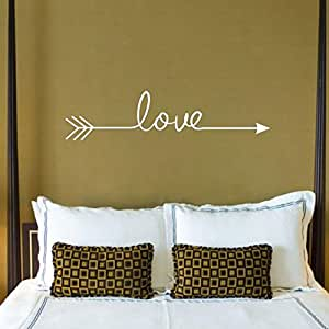 Susenstone Love Arrow Decal Living Room Bedroom Vinyl Carving Wall Decal Sticker for Home Decoration (white)