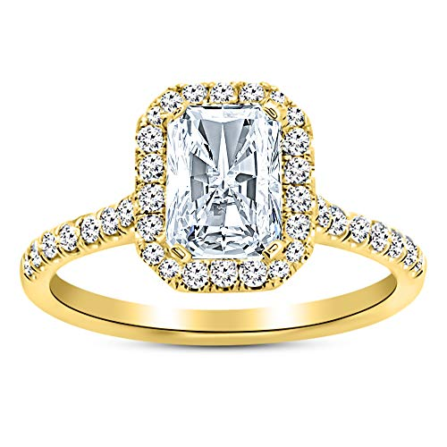 1.02 Carat GIA Certified 14K Yellow Gold Halo Radiant Cut Diamond Engagement Ring (0.52 Ct D Color VVS2 Clarity Center) ()
