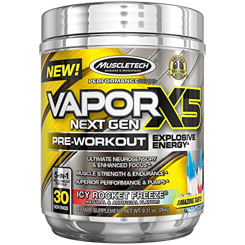 Nitro Fusion Berry - MuscleTech Vapor X5 Next Gen Pre Workout Powder, Explosive Energy Supplement, ICY Rocket Freeze, 30 Servings (9.6oz)
