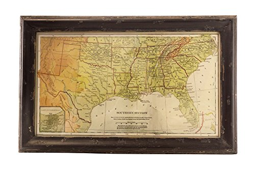 Map of the South in Distressed Wood ()