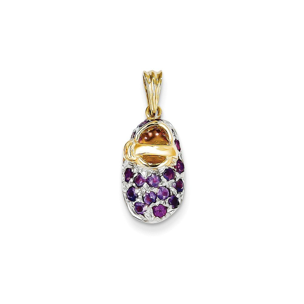 ICE CARATS 14k Yellow Gold Prong Set February/amethyst Baby Shoe Pendant Charm Necklace Birthstone Fine Jewelry Gift Set For Women Heart by ICE CARATS (Image #3)