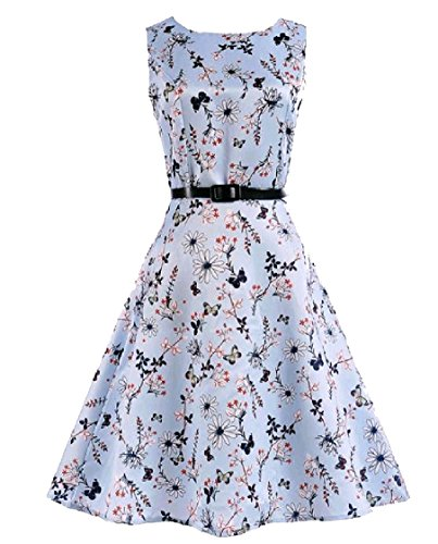 Floral Swing Dress Print A Retro Sleeveless Coolred 50s Pattern11 Women Line fwqSZH