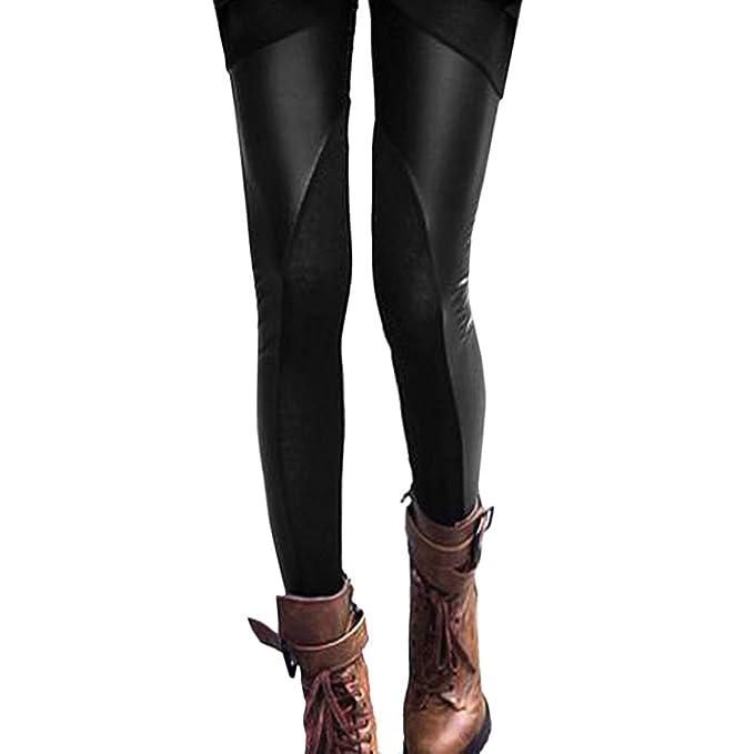 0c3043960 Locomo Women Faux Leather Mesh Inset Footless Legging Skinny Slim S-M FFT013