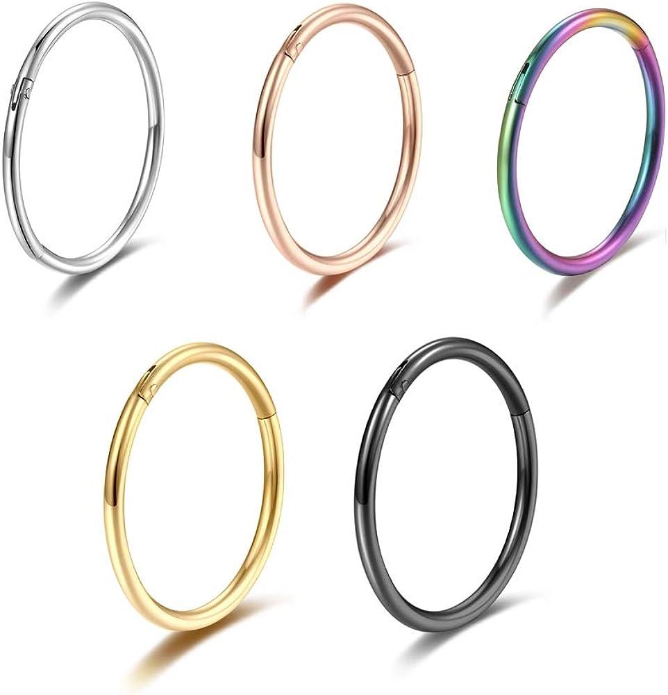 5 Pcs 20G 18G 16G Nose Rings Hoop Set 316L Surgical Steel Earrings Tragus Septum Piercing Cartilage Hoop For Women Men