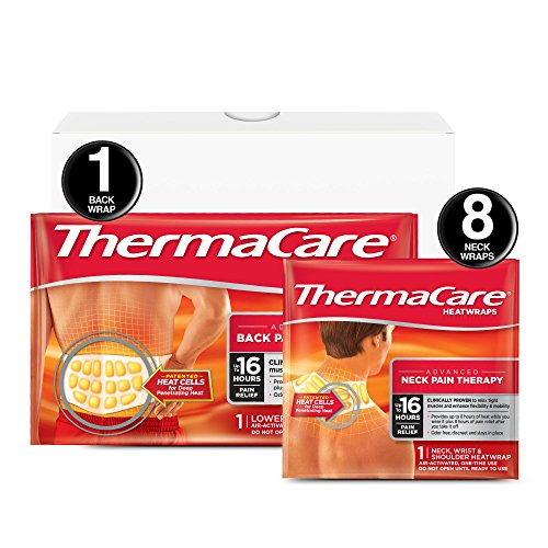 - ThermaCare Advanced Neck Pain and Back Pain (L-XL Size) Combo Pack (8 Neck Wraps, 1 Back Wrap) Heatwraps, Up to 16 Hours of Pain Relief, Neck & Wrist & Shoulder Use, Lower Back & Hip Use