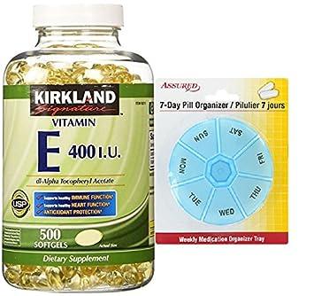 Firma de Kirkland vitamina E 400 U.I. 500 cápsulas, botella con gratis 7 días plástico