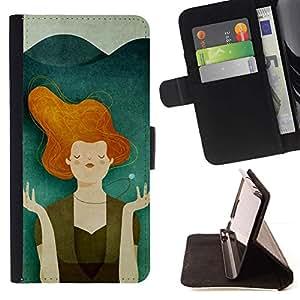 For Samsung Galaxy S5 Mini (Not S5), SM-G800 Case , Teal Naranja Paz para el Medio Ambiente- la tarjeta de Crédito Slots PU Funda de cuero Monedero caso cubierta de piel