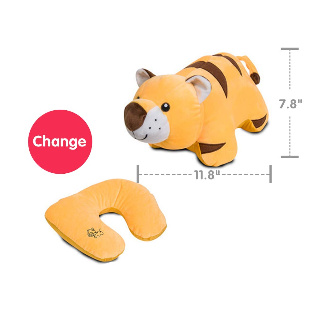 Kenmont Soft Travel Pillow, Neck Pillow for Restful Sleep on an Airplane - Chin Supporting Patented U-Shape Pillow & Transformer Animal Plush Doll for Kids Room Decor (Tiger) by Kenmont