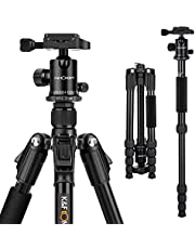 K&F Concept Compact Tripod for Traveller (Folded Size 39CM),Lightweight Portable Aluminum Monopod Stand with 360° Ball Head Quick Release Plate for Canon Nikon Sony DSLR Camera (Model TM2515B)