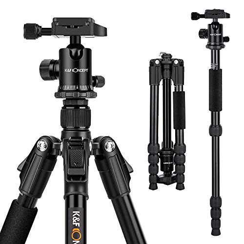 K&F Concept Ultra Compact and Lightweight Aluminum Travel Tripod with Monpod,360° Panorama Ball Head Compatible with Canon Nikon DSLR Cameras
