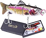 """Robotic Swimming Fishing Electric Lures 5.12"""" USB Rechargeable LED Light 4-Segement Wobbler Multi Jointed"""