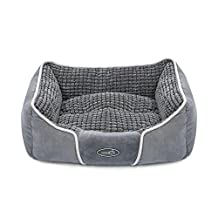 """Pecute Deluxe Pet Bed for Cats and Small Medium Dogs Rectangle Cuddler with Soft Detachable Cushion Grey (S 19.7"""" x 17"""" x 7"""")"""