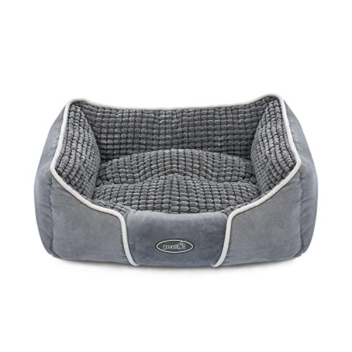 Pecute Deluxe Pet Bed for Cats and Small Medium Dogs Rectangle Cuddler with Soft Detachable Cushion Machine Washable (S 19.7' x 17' x 7')