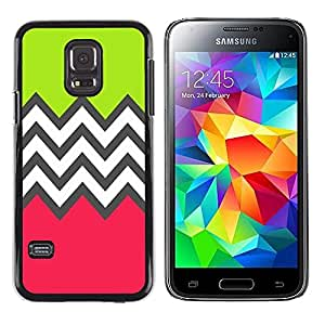 iKiki Tech / Estuche rígido - Green Pink White Pattern - Samsung Galaxy S5 Mini, SM-G800, NOT S5 REGULAR!