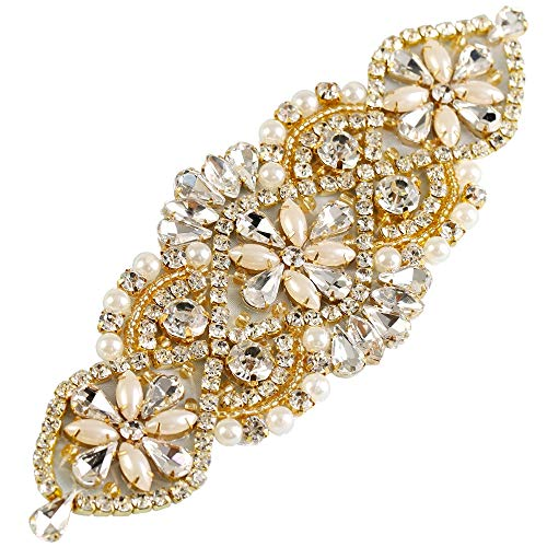 Crystal Rhinestone Appliques for Wedding Gown Bridal Belts Sashes Evening Prom (gold)