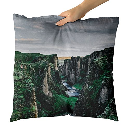 y Mountain - Decorative Throw Pillow Cushion - Picture Photography Artwork Home Decor Living Room - 26x26 Inch ()
