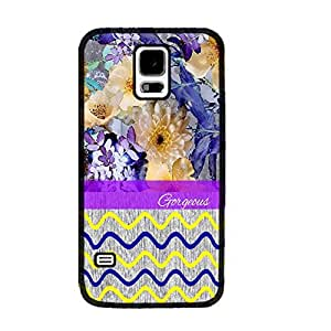 Colorful Chevron Design Wood-print Pattern Samsung Galaxy S5 I9600 Hard Protective Skin Cover Phone Case (yellow and blue black ju5229)