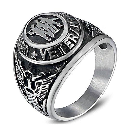 Beydodo Stainless Steel Rings Jewelry Size 7 Eagle Engraved United State Veteran Biker Ring Men