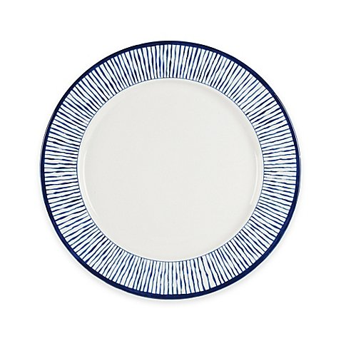 Everyday White® by Fitz and Floyd® Bistro Blue Stripe Dinner Plate by Product Everyday White