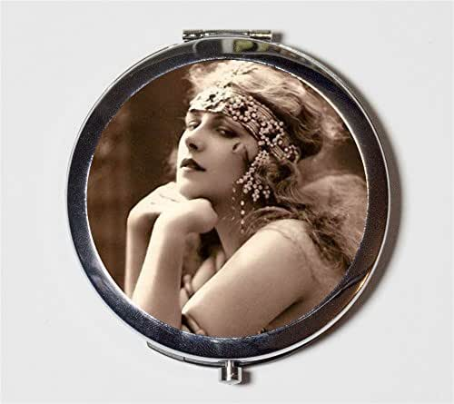Cleopatra Flapper Compact Mirror 1920s Jazz Age Art Deco Egyptian Revival Belly Dancing Follies Make Up Pocket Mirror for Cosmetics