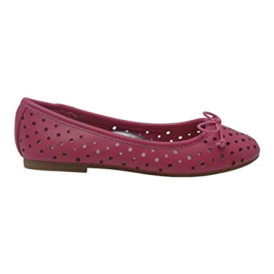 dff7c24e4f6 L Amour Girls Fuchsia Perforated Bow Ballet Trendy Flats 1 Kids