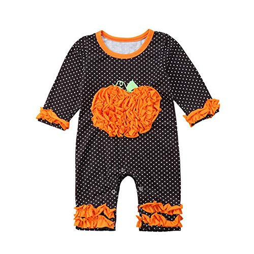 Newborn Baby Halloween Costumes,Girl Long Sleeve 3D Pumpkin Dots Romper Jumpsuit Playsuit Bodysuit Outfits,0-24 Months -