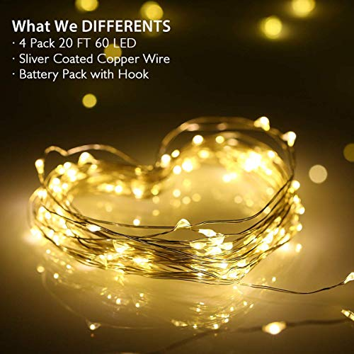 Homemory 4 Pack 20 Ft 60 LED Fairy Lights Battery Operated Christmas Lights with Remote Waterproof 8 Modes Firefly Twinkle String Lights for Party Bedroom Wedding Decorations