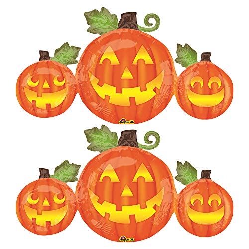 Set of 2 Grinning Jack O' Lantern Trio Pumpkin Patch Jumbo 39